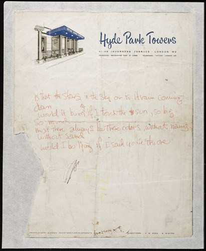 Hand-written lyrics for Love or Confusion by Hendrix