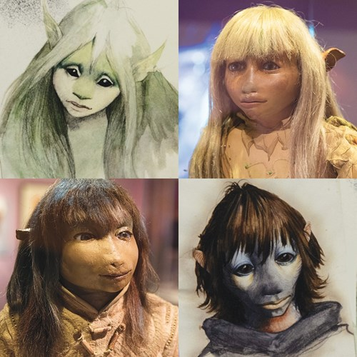 Concept sketches and actual puppets from The Dark Crystal