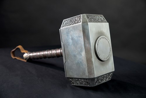 Artifact shot of Thor's hammer at MoPOP