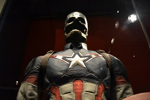 Captain America costume at the Marvel exhibit