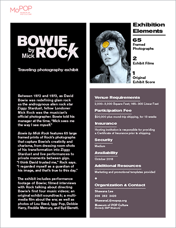 Bowie by Mick Rock onesheet