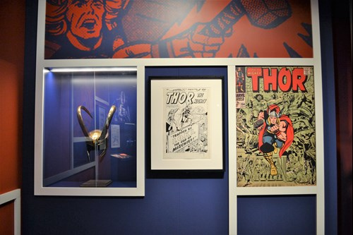 Loki helmet and original Thor artwork at MoPOP