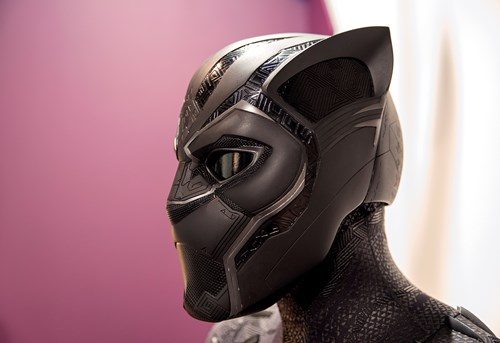 Close up of T'Challa's Black Panther Helmet