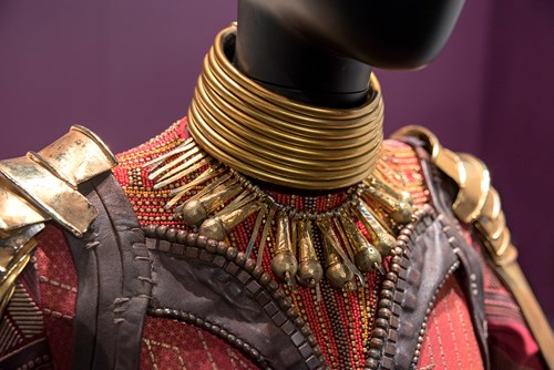 Close up on Okoye's costume at MoPOP